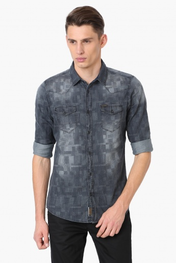 925e1d68e9 BEING HUMAN Printed Flap Pockets Denim Shirt