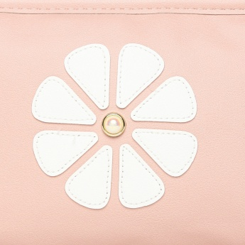 GINGER Floral Applique Zip Closure Pouch