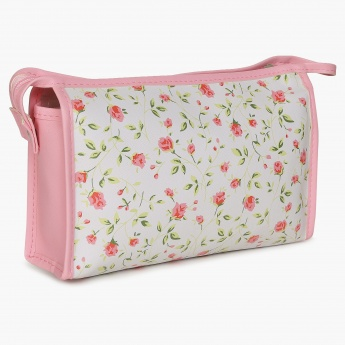 GINGER Floral Print Zip Closure Pouch