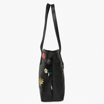GINGER Sequinned Embroidered Detail Zip Closure Tote Bag