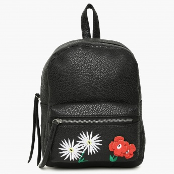 GINGER Textured Floral Detail Backpack