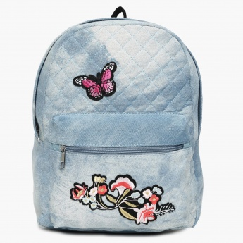 GINGER Embroidered Detail Zip Closure Quilted Backpack