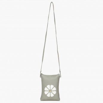 GINGER Floral Applique Zip Closure Sling Bag