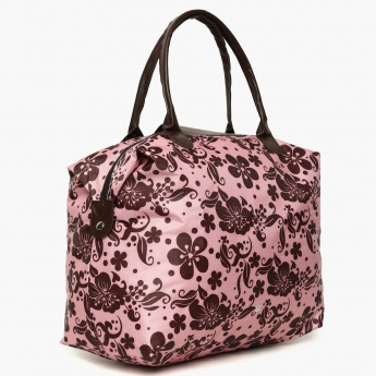 GINGER Printed Zip Closure Handbag