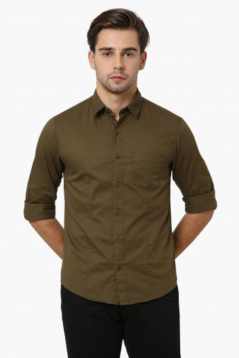 SPYKAR Solid Patch Pocket Full Sleeves Shirt