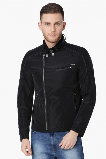 ED HARDY Solid Zip-Up Full Sleeves Biker Jacket