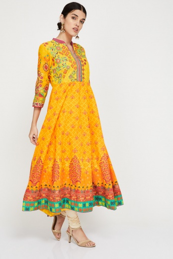 BIBA Printed Mandarin Collared Three-Quarter Sleeve Anarkali Kurta
