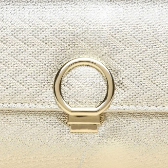 CODE Metallic Texture Flap Closure Metallic Strap Clutch