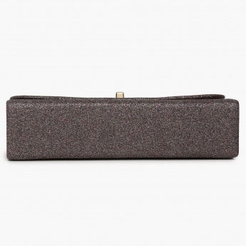 CODE Shimmery Texture Flap Closure Metallic Strap Clutch