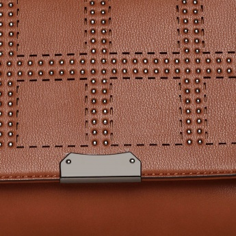 CODE Studded Flap Closure Shoulder Strap Satchel
