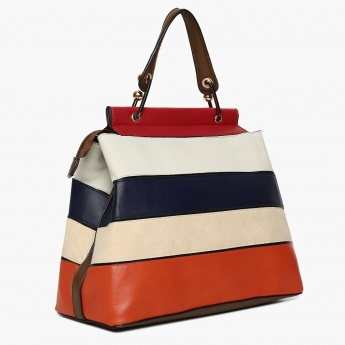 CODE Striped Zip Closure Shoulder Strap Handbag