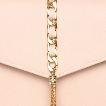 GINGER Solid Flap Closure Metallic Strap Sling Bag