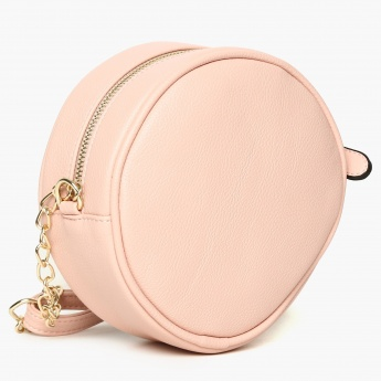 GINGER Applique Detail Zip Closure Round Sling Bag