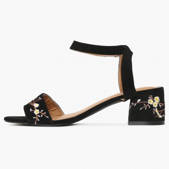 GINGER Embroidered Strap Buckle Closure Block Heels