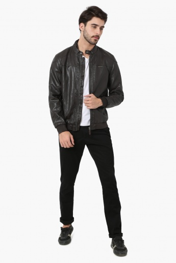 U.S. POLO ASSN Solid Zip-Up PU Biker Jacket