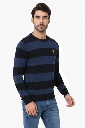 U.S. POLO ASSN Striped Full Sleeves Sweater