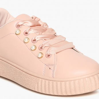 GINGER Bead Embellished Lace-Up Shoes