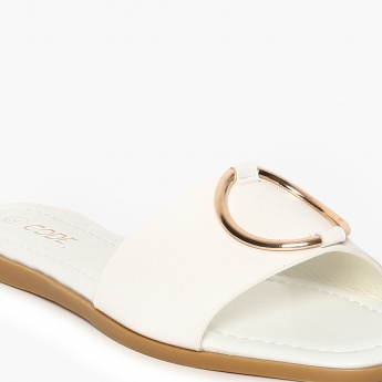 CODE Embellished Slip-On Flat Sandals