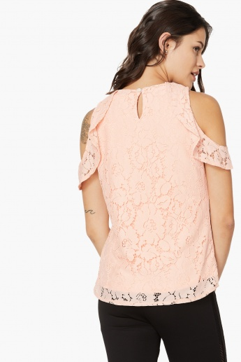 f49a2b96f1cff KRAUS Lace Overlay Cold-Shoulder Sleeve Top