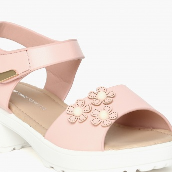 FAME FOREVER Floral Applique Studded Sandals