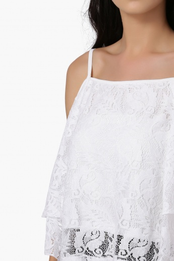 fffef46ed2f03 GINGER Lace Layered Cold Shoulder Top