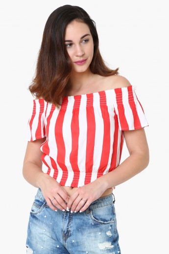 6ac06a954c3e2 GINGER Striped Tie-Up Sleeves Off-Shoulder Top