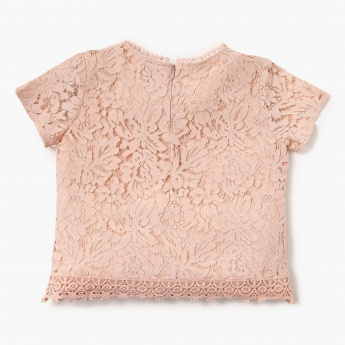FAME FOREVER Lace Layered Bobble Trimmed Top