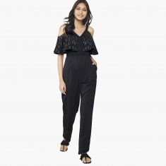 976c416a7a GLOBAL DESI Sequin Detail Flared Sleeves Crop Jumpsuit