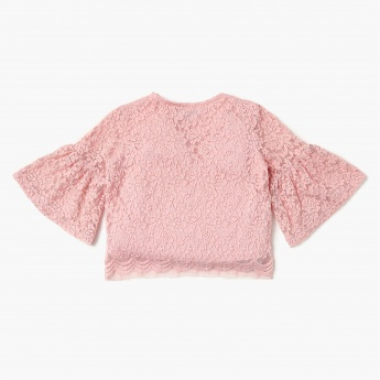 FAME FOREVER Lace Overlay Bell Sleeves Top
