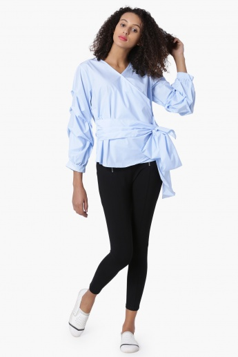 GINGER Solid Wrap-Up Tie-Up Waist Top