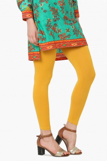 MELANGE Solid Stretch Churidar Leggings