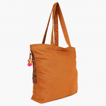 GINGER Printed Tassel Detail Tote Bag