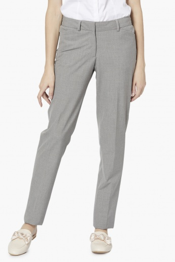 ALLEN SOLLY Solid Flat-Front Trousers