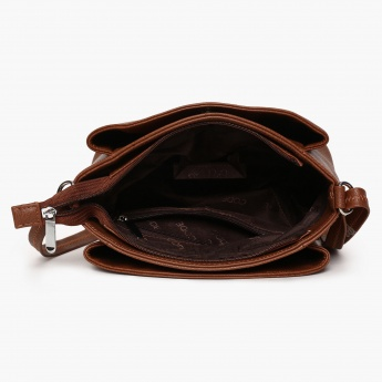 CODE Textured Zip Closure Sling Bag