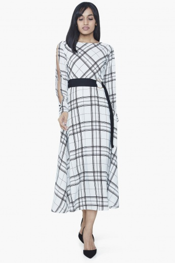 AND Checked Slit Sleeves Belted Midi Dress