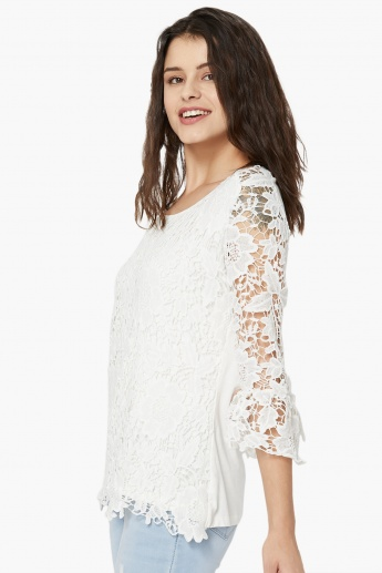 8f3b05bf59a70 KRAUS Lace Overlay Layered Top
