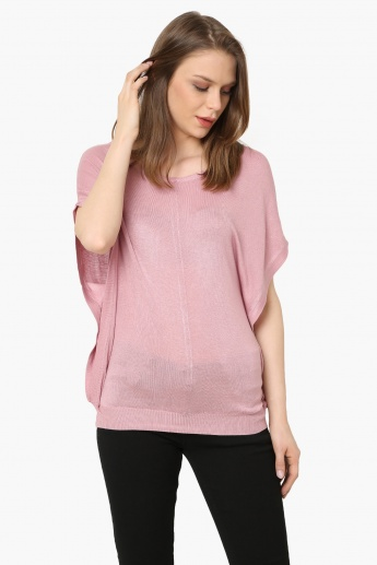 8005126ab3fc3 VEROMODA Solid Extended Sleeves Flat Knit Top