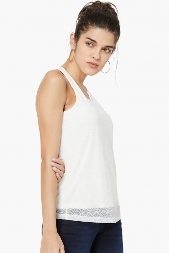 VERO MODA Patterned Overlay Racerback Top