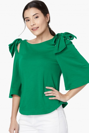 3a77c518ff2203 UNITED COLORS OF BENETTON Tie-Up Bow Cold Shoulder Top | Green
