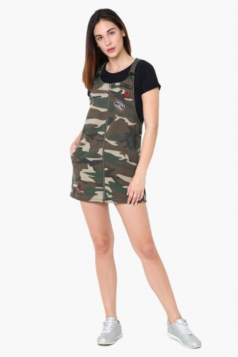 a31f786f8b4 GINGER Camo Print Zip Closure Pinafore Dress