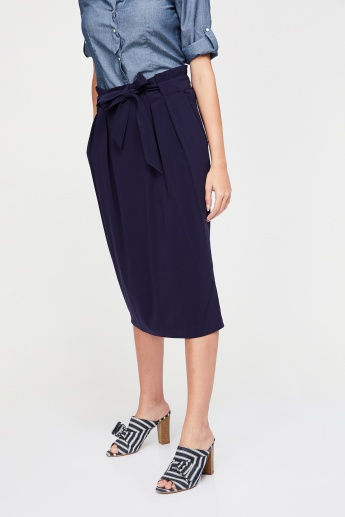 UNITED COLORS OF BENETTON Solid Tie-Up Waist Midi Skirt