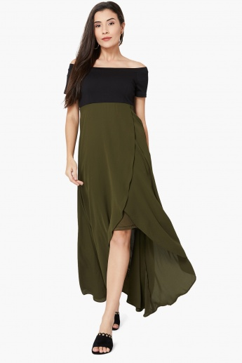 a99d04aabb CODE Solid Off-Shoulder Overlapped High-Low Maxi Dress