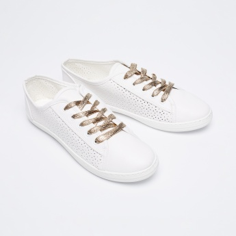 GINGER Perforated Shimmery Lace-Up Sneakers