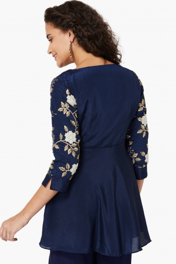 COLOUR ME Floral Zari Embroidered Flared Hem Tunic