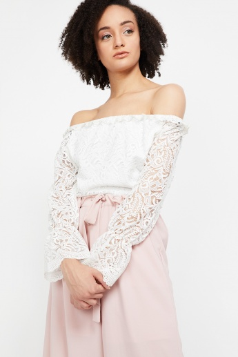 92d72ed0b835f KRAUS Lace Off-Shoulder Top