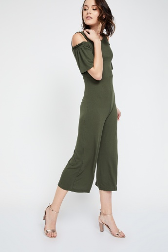 b4aee191e8d GINGER Flared Sleeves Solid Cold-Shoulder Jumpsuits