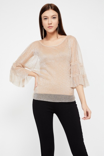 GINGER Tiered Bell Sleeve Lurex Top