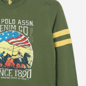 a2802e76 U.S. POLO ASSN KIDS Graphic Print Long Sleeve T-shirt | Green
