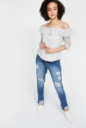 beedb7cce377c KRAUS Lace Off-Shoulder Strappy Top