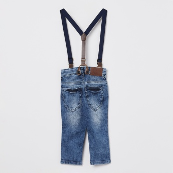 size 40 9570c 758ec UNITED COLORS OF BENETTON Washed Jeans With Suspenders